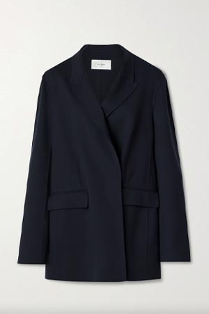 THE ROW BLACK double breasted wool jacket