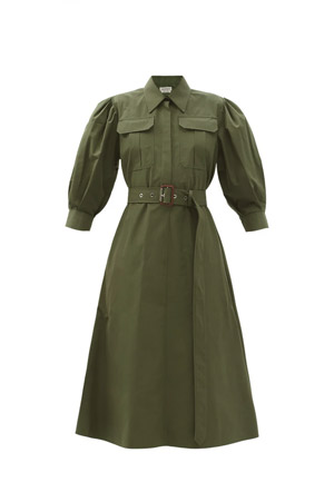 cotton deep khaki green button up dress with puffed sleeves and belt