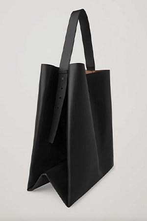 Autumn-Winter 2021 trends big square black leather tote bag