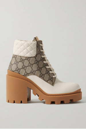 ankle boots with gucci canvas logo and white detailing on brown heeled chunky sole