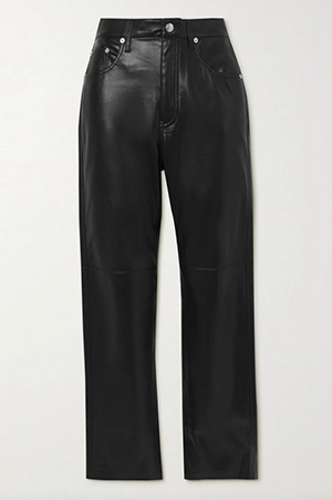 black vegan leather cropped trousers straight legged