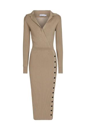 Autumn-Winter 2021 trends beige knitted midi dress