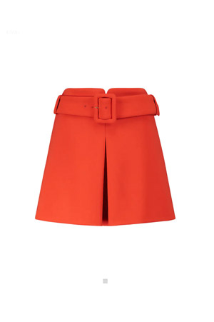 belted orange mini skirts with front split